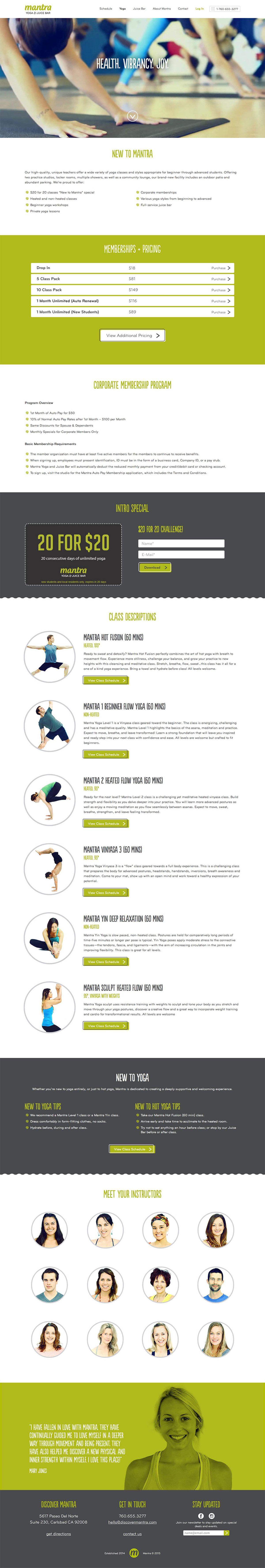 igntye website design agency mantra yoga and juice