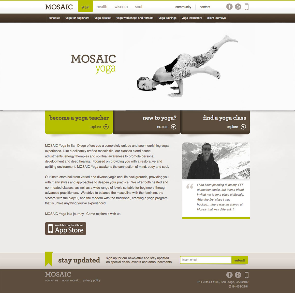 ignyte website design agency yoga homepage